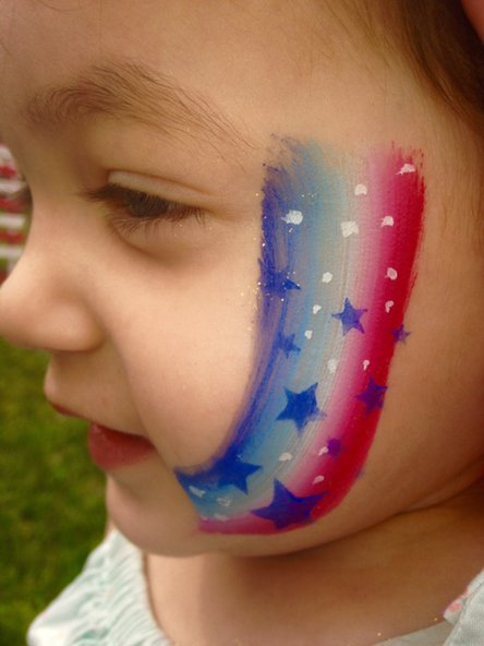 Rainbow face painting for kids