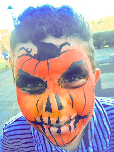 Scary pumpkin face painting for halloween
