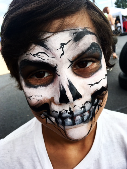 Skull face painting for boy