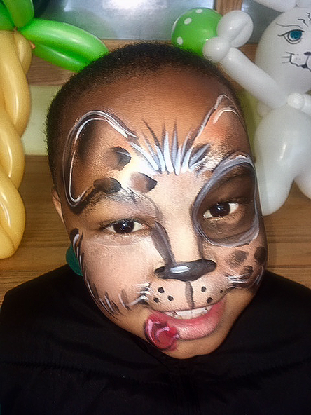 Dog face painting for boy