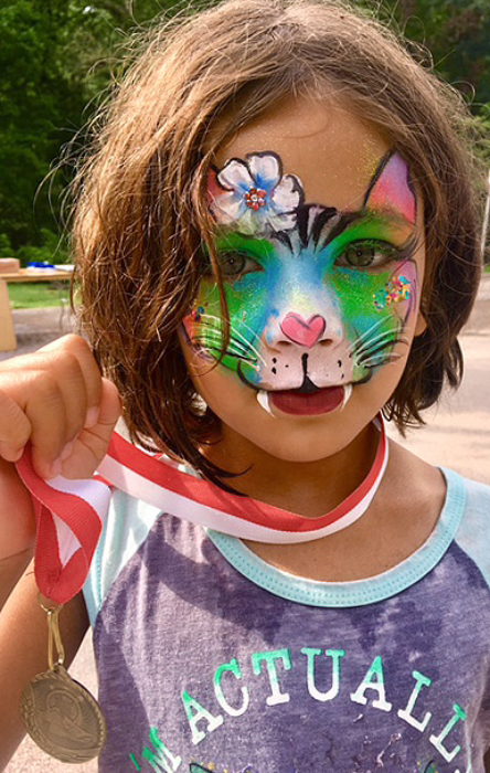 Fancy rainbow Cat face painting