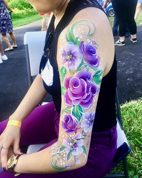Purple flowers - Arm body painting