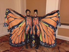 Orange butterfly - full body painting
