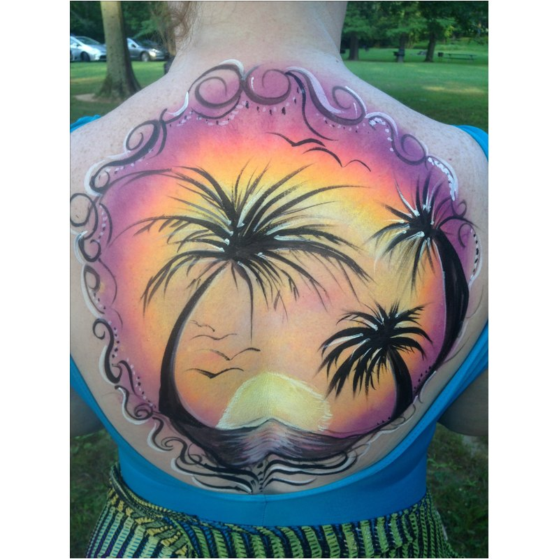 Palm trees at sunset back Body Art Tattoo